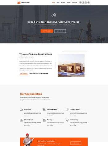 Construction wordpress demo site