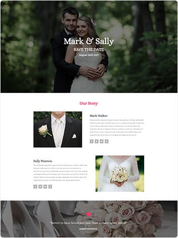 Wedding wordpress demo site