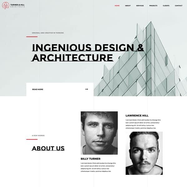 architects WordPress demo site