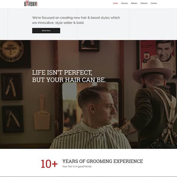 barber WordPress demo site screenshot