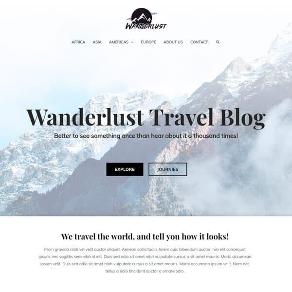 Travel Blog WordPress demo site screenshot