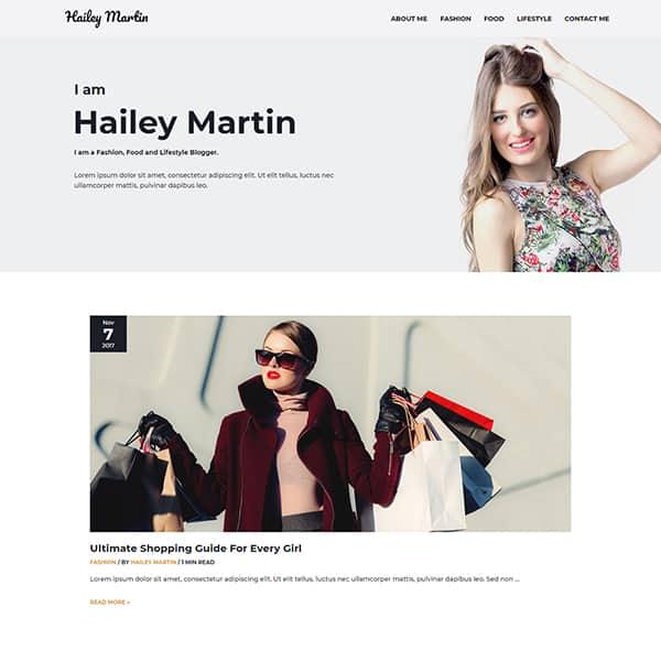 personal blog WordPress demo site screenshot