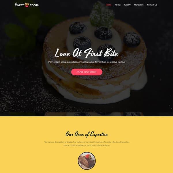 cake shop WordPress demo site screenshot