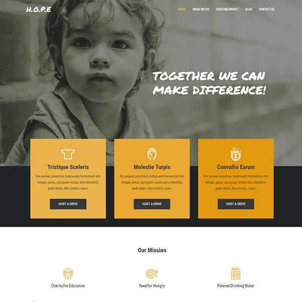 charity WordPress demo site screenshot