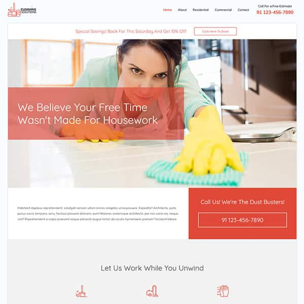 residential and commercial cleaning WordPress demo site screenshot