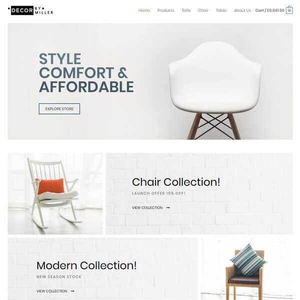 furniture store WordPress demo site screenshot