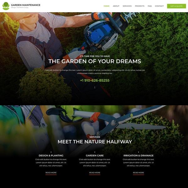 garden maintenance WordPress demo site screenshot
