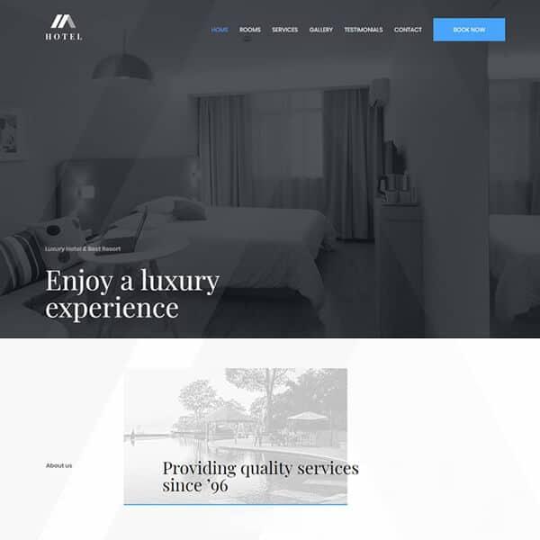 hotel WordPress demo site screenshot