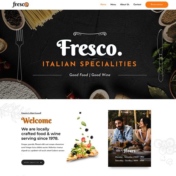 italian restaurant WordPress demo site screenshot