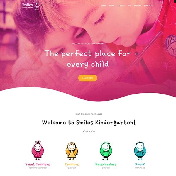 kindergarten WordPress demo site screenshot