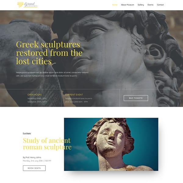 museum WordPress demo site screenshot