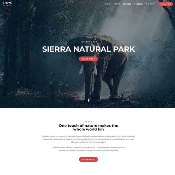 sierra national park WordPress demo site screenshot