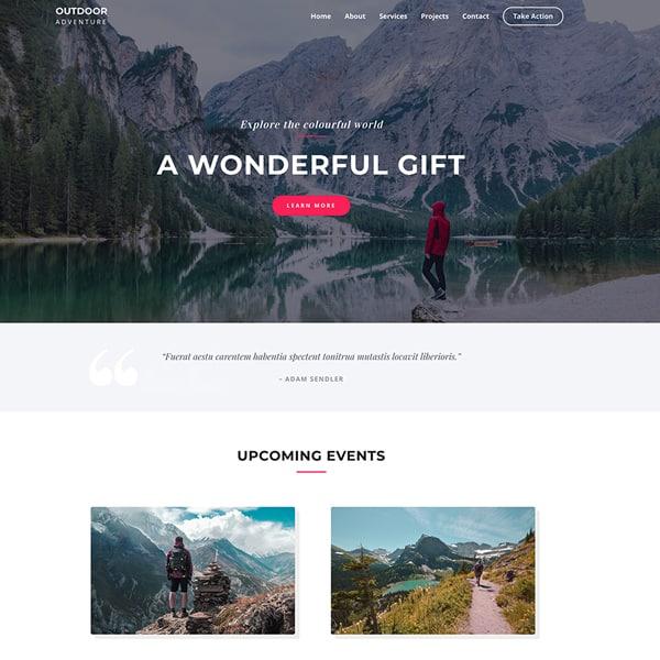 outdoor adventure WordPress demo site screenshot