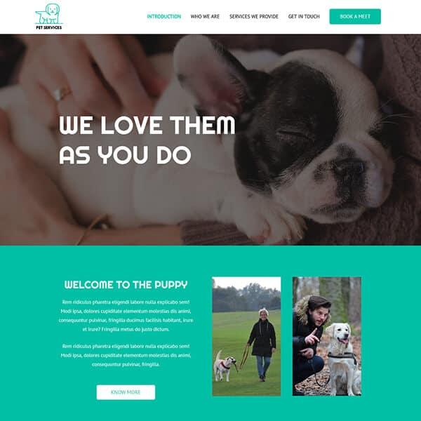 pet services WordPress demo site screenshot