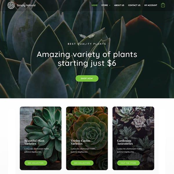 plant shop WordPress demo site screenshot