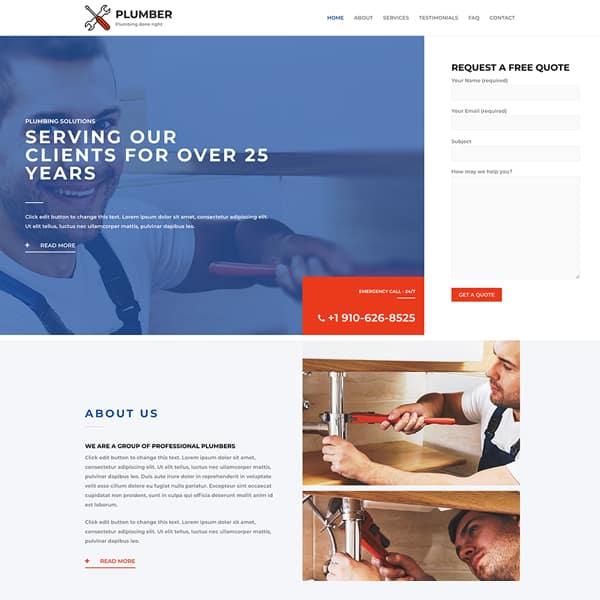 plumber WordPress demo site screenshot