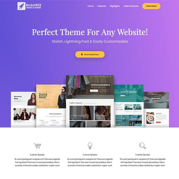 product landing page WordPress demo site screenshot