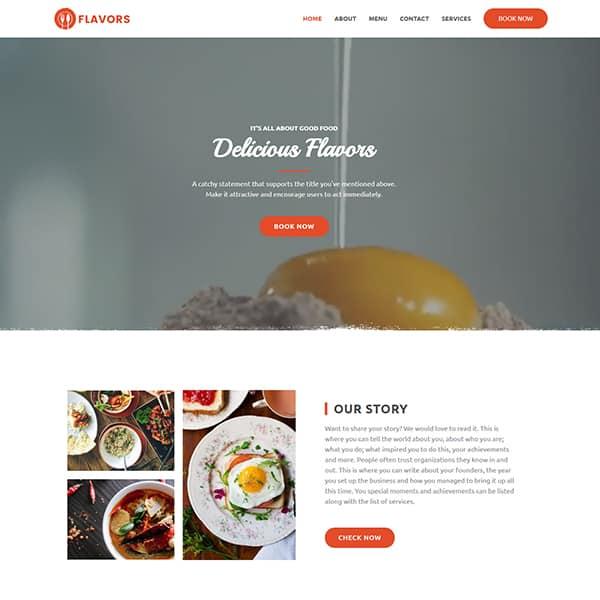 restaurant WordPress demo site screenshot