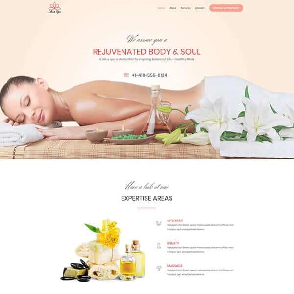 spa and beauty WordPress demo site screenshot