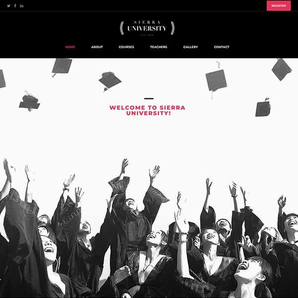 university WordPress demo site screenshot