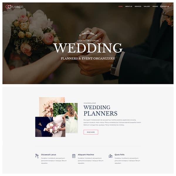 wedding and event organizer WordPress demo site screenshot