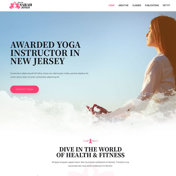 yoga instructor WordPress demo site screenshot